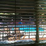 view of pool deck from bedroom