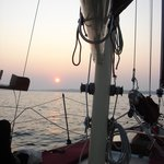 Coming back in to the Harbor on the Ketch at Sunset.