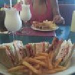 Turkey Club with fries, Pina Colada, and cherry coke