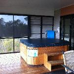 Huge spa and deck