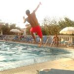 jumping in the pool