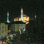 Aya Sofya from the terrace at night.