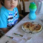 Our 2-year old was given his own pancake breakfast!