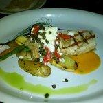 Grilled swordfish w/ local veggies