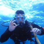 An underwater diving shot