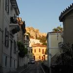 Early morning view of Acropolis from Adrianou Street