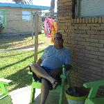 Jeff enjoying the covered patio, our favorite spot!