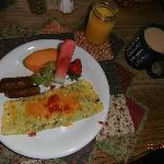 French omelets and maple sausage for breakfast, yum.