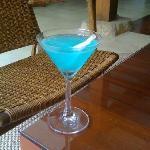Turquoise caipirinha, the house drink