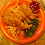Children's chicken strips with fries.... beware, the sauce that comes with it is not ketchup