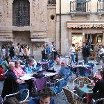 Cafes in abundance just outside Hostal Plaza Mayor