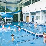 Indoor pool, 100ft waterslide, whirlpool & sauna