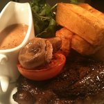 rump steak with peppercorn and homemade hand cut fat chips