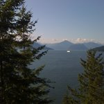 BC Ferry crossing Howe Sound, BC as seen from Rocky Mountaineer