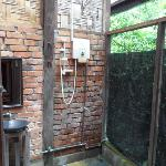 hot water shower, also open to the jungle!