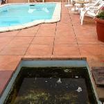inadmissible. l'accès à la piscine est rendu impossible par un pédiluve insalubre ( aux limites