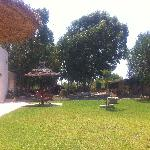 "Un des jardins devant la chambre ""Essaouira"" (au fond la tente berbère)"