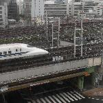 Shinkansen passes in front of the hotel.The window was sound-proof,luckily.