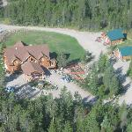 Aerial view of The Great Bear Inn from the helicopter
