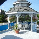 In the gazebo (great place for breakfast)