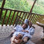 Chillin' on our cabin's balcony...