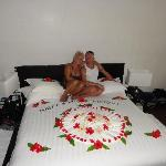 The decorated bed on my partners 50th birthday