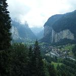 Lauterbrunnen village with the falls above