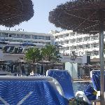 View of hotel from lower pool area