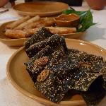 Deepfried fresh water weed with sesame ! Taste akin to the Japanese California roll seaweed wrap