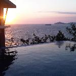 Watching the sunset from our villa