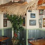 Secluded corner under palm fronds is great for couples