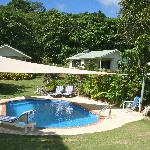 View from pool to cottages