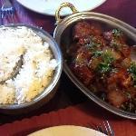 Basmati rice and lamd bhuna