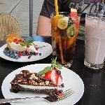 Cakes, ice tea and shake.