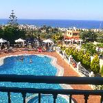 View from our balcony to the pool and down to Hersonissos