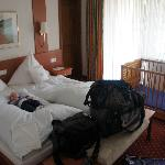 Our double room with our baby son testing the bed