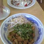 Main courses. Noodles with chicken and beef with rice.