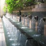 Fountain at the rear of the pool area