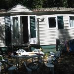 'Our' mobile home, shaded in the afternoon. They now have a veranda.