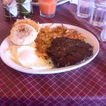 Black Angus beef with 2 eggs over easy , hash browns, and muffin