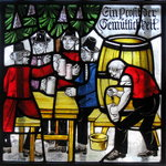 A fun stained glass panel at Zum Stammtisch German Restaurant