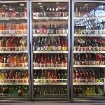 Cooler display of soda available to buy