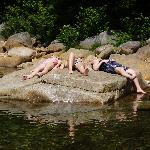 Relaxing after a refreshing dip in the river!