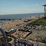 View overlooking the adjacent baseball field, parachute tower, beach, and da projekts