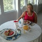 Our first breakfast at Colington Creek B&B