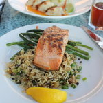 Grilled salmon with pearl barley rice