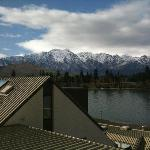The view from the upstairs loft bedroom, with Lake Wakatipu and The Remarkables