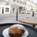 Delightful Polish speciality, a filled doughnut (pączka), but dusted with confectioner's sugar r