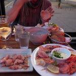 a shrimp platter after we had eaten quite a lot!