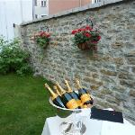 The lovely walled courtyard with Verve Cliquot